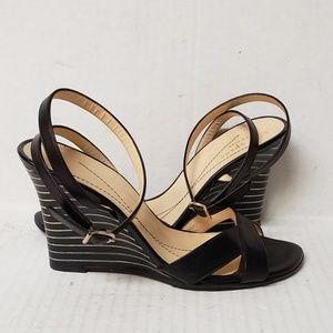 kate spade Brown Leather Wedge Sandal Heels